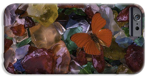 Buy iPhone Cases - Red Butterfly On Sea Glass iPhone Case by Garry Gay
