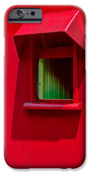 Pines iPhone Cases - Red Caboose Window In Shade iPhone Case by Gary Slawsky