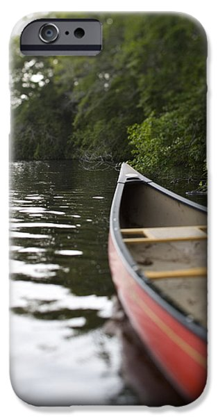 Canoe iPhone Cases - Red Canoe At Shoreline With Trees iPhone Case by Ink and Main