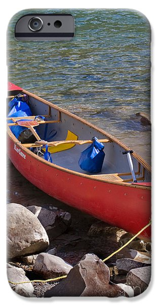 Canada Photograph iPhone Cases - Red canoe iPhone Case by Louise Heusinkveld