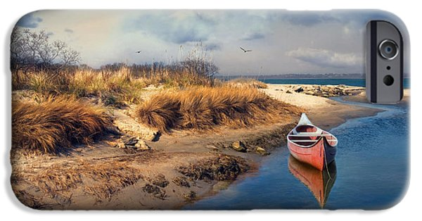 Canoe iPhone Cases - Red Canoe iPhone Case by Robin-lee Vieira