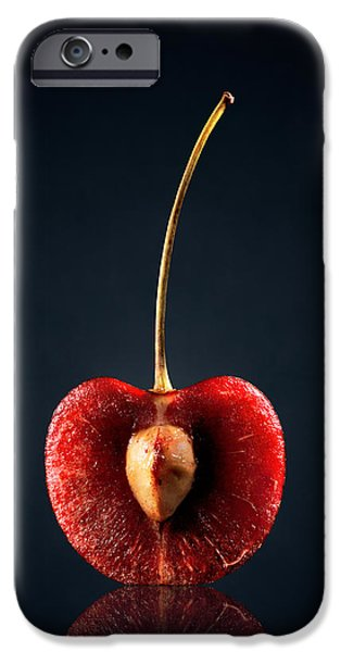 Raw iPhone Cases - Red Cherry Still Life iPhone Case by Johan Swanepoel
