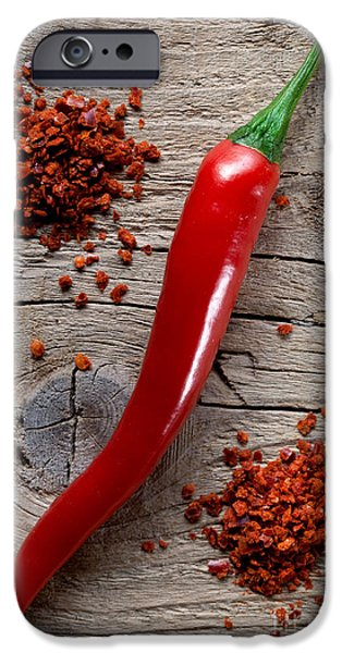 Fiery iPhone Cases - Red Chili Pepper iPhone Case by Nailia Schwarz