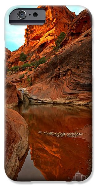 Red Cliffs iPhone Cases - Red Cliffs Reflections iPhone Case by Adam Jewell