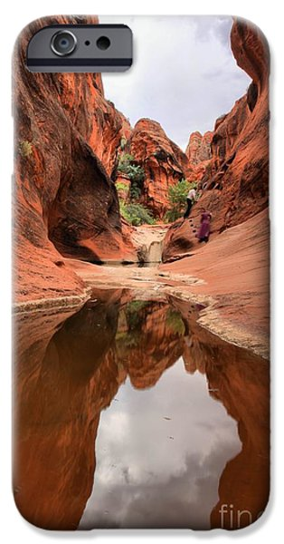 Red Cliffs iPhone Cases - Red Cliffs Towering Wall Refelctions iPhone Case by Adam Jewell