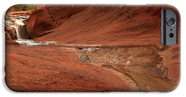Red Cliffs iPhone Cases - Red Cliffs Upper Waterfall iPhone Case by Adam Jewell
