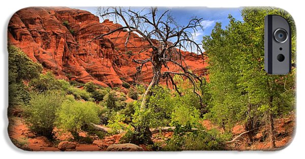 Red Cliffs iPhone Cases - Red Cliffs Utah Landscape iPhone Case by Adam Jewell