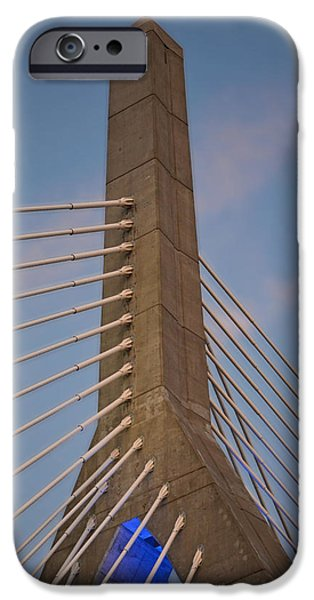 Boston Ma iPhone Cases - Red clouds over the Lenny Zakim Bridge Boston MA iPhone Case by Toby McGuire