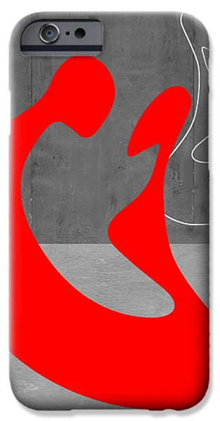 Contemporary Abstract iPhone Cases - Red Couple iPhone Case by Naxart Studio