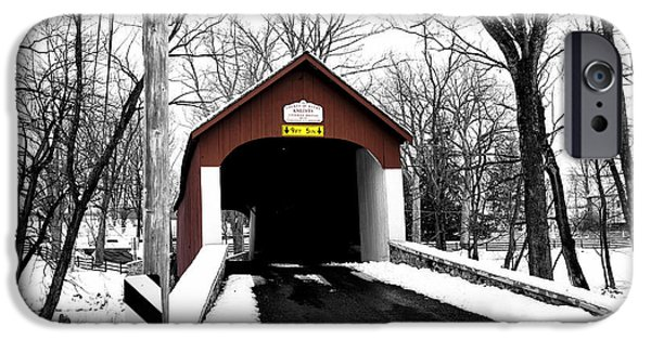 Snow iPhone Cases - Red Covered Bridge Fusion iPhone Case by John Rizzuto