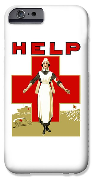 Ww1 iPhone Cases - Red Cross Nurse - Help iPhone Case by War Is Hell Store