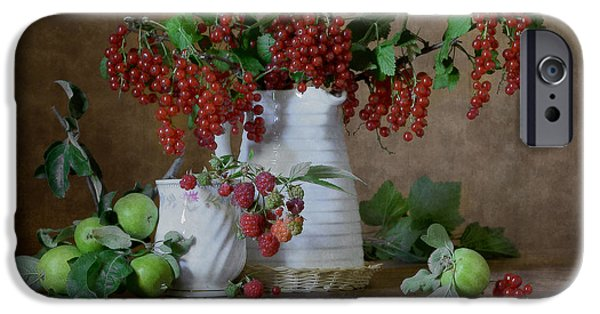 Berry iPhone Cases - Red Currant and Apples iPhone Case by Nikolay Panov