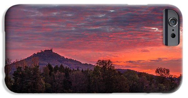 Landmarks Photographs iPhone Cases - Red Dawn over the Hohenzollern Castle iPhone Case by Dmytro Korol
