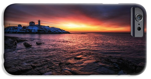 Cape Neddick Lighthouse iPhone Cases - Red Dawn iPhone Case by Scott Thorp