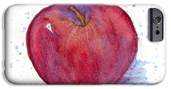 """square Art"" Drawings iPhone Cases - Red Delicious Apple Study iPhone Case by Cathie Richardson"
