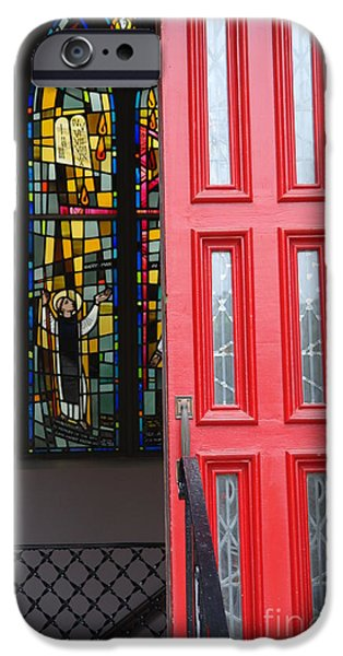 Red door at Church in front of stained glass iPhone Case by David Bearden