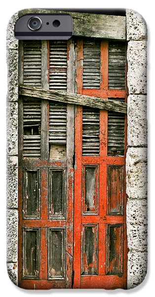 Boarded Up iPhone Cases - Red Door iPhone Case by Douglas Barnett