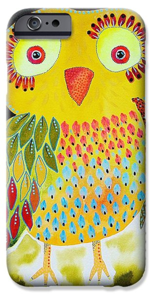 Baby Bird iPhone Cases - Red Eye Owl iPhone Case by Bea Roberts