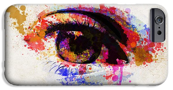 Concept Digital Art iPhone Cases - Red eye watercolor iPhone Case by Delphimages Photo Creations