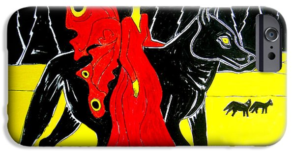 Women Together iPhone Cases - Red Faerie and Black Wolf With Yellow Moon iPhone Case by Genevieve Esson
