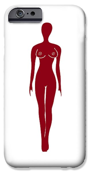 Contemporary Abstract iPhone Cases - Red Female Silhouette iPhone Case by Frank Tschakert