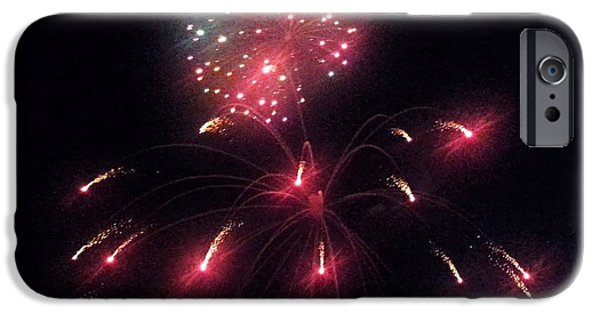 July 4th iPhone Cases - Red Fireworks iPhone Case by Shelly Dixon