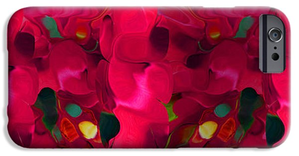 Abstract Digital Photographs iPhone Cases - Red Flowers Abstract iPhone Case by Tina M Wenger