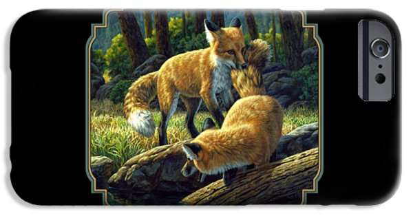 Puppies iPhone Cases - Red Foxes - Sibling Rivalry iPhone Case by Crista Forest