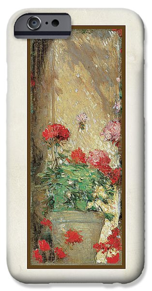 Dappled Light iPhone Cases - Red Geranium Pots iPhone Case by Audrey Jeanne Roberts