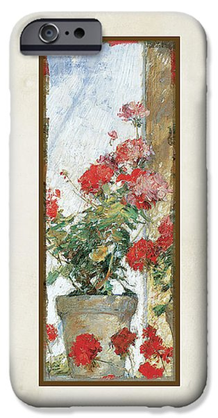 Terra Paintings iPhone Cases - Red Geraniums Against a Sunny Wall iPhone Case by Audrey Jeanne Roberts