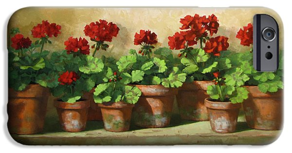 Red Geraniums iPhone Cases - Red Geraniums iPhone Case by Linda Jacobus