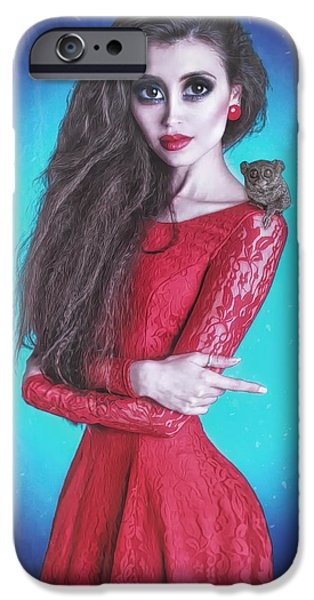 Model iPhone Cases - Red Girl iPhone Case by Nestor  Navarro