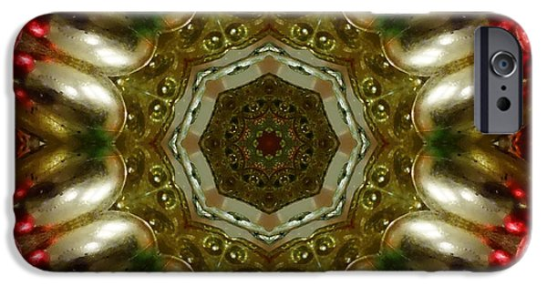 Christmas Greeting iPhone Cases - Red Gold Kaleidoscope 1 iPhone Case by Chandra Nyleen