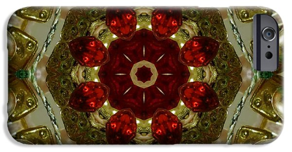 Christmas Greeting iPhone Cases - Red Gold Kaleidoscope 2 iPhone Case by Chandra Nyleen
