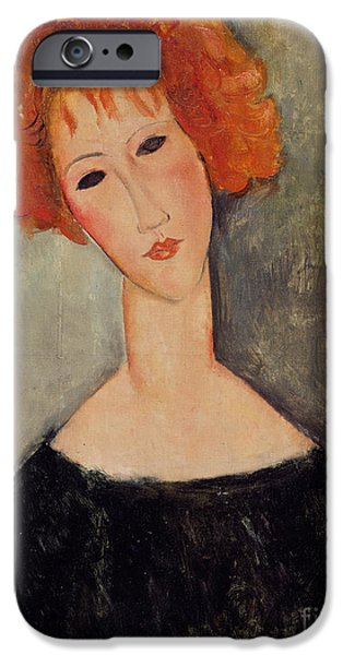 Recently Sold -  - Lips iPhone Cases - Red Head iPhone Case by Amedeo Modigliani