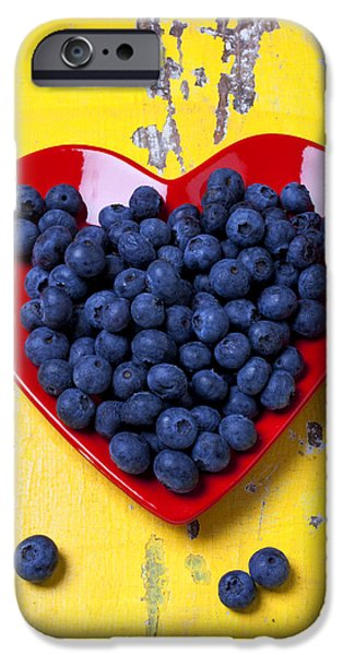 Orange iPhone Cases - Red heart plate with blueberries iPhone Case by Garry Gay