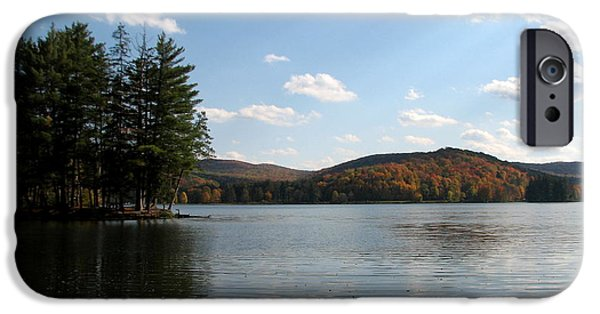 Artists4god iPhone Cases - Red House Lake Allegany State Park NY iPhone Case by Rose Santuci-Sofranko
