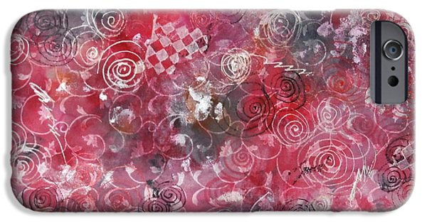 Red Abstract Tapestries - Textiles iPhone Cases - Red in white iPhone Case by Alons Irina
