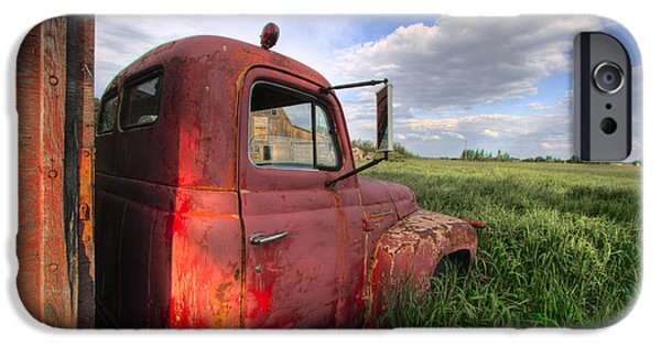 Crops iPhone Cases - Red International Truck in the Grass iPhone Case by Dan Jurak