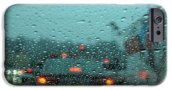 Rainy Day iPhone Cases - Red Light iPhone Case by Hamid Moham