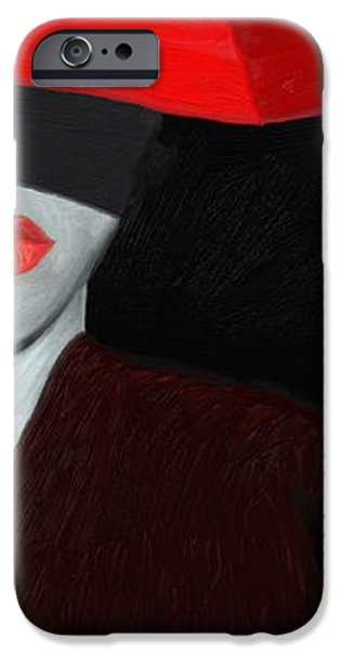 Red Lips and Umbrella iPhone Case by James Shepherd