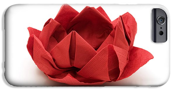 Cut-outs iPhone Cases - Red lotus origami iPhone Case by Fabrizio Troiani
