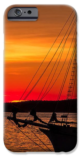 Boat iPhone Cases - Red Maine Sunrise iPhone Case by Steven Bateson
