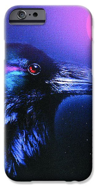 RED MOON RAVEN iPhone Case by Robert Foster