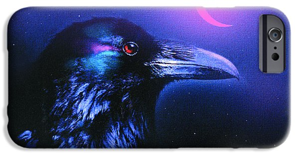 Crows Digital Art iPhone Cases - Red Moon Raven iPhone Case by Robert Foster