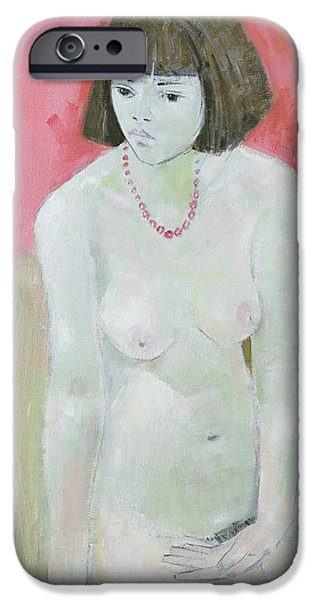 Hairstyle iPhone Cases - Red Necklace iPhone Case by Endre Roder