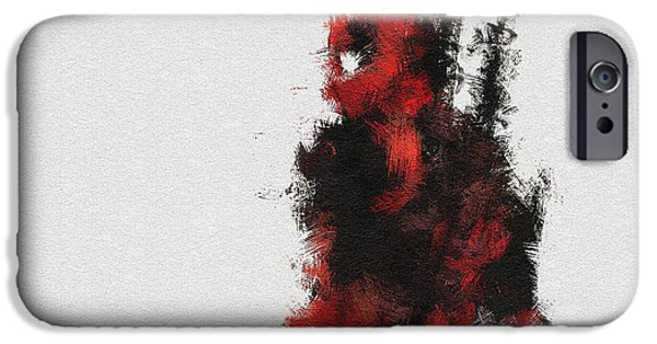 Character Portraits Digital Art iPhone Cases - Red Ninja iPhone Case by Miranda Sether