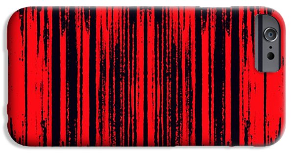 Abstract Digital Tapestries - Textiles iPhone Cases - Red on Black iPhone Case by Suzi Freeman