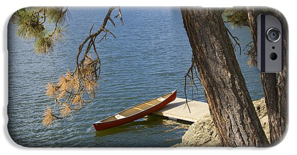 Canoe iPhone Cases - Red on Blue iPhone Case by Idaho Scenic Images Linda Lantzy