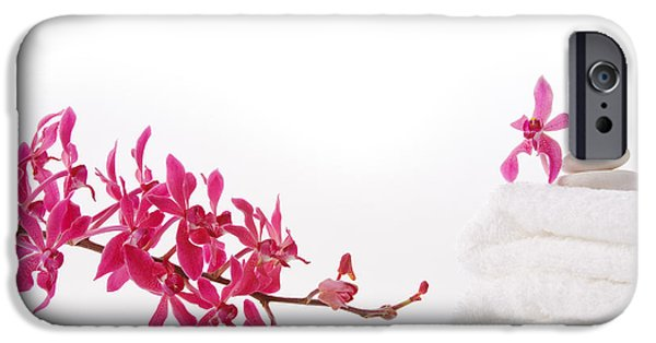 Merchandise iPhone Cases - Red Orchid With Towel iPhone Case by Atiketta Sangasaeng